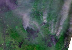 Sentinel image of the fires on 10 October 2017 east of Santa Rosa