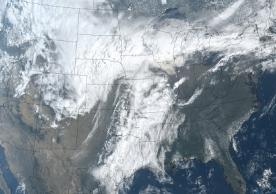GOES-16 image of winter storm Xanto on 13 April 2018