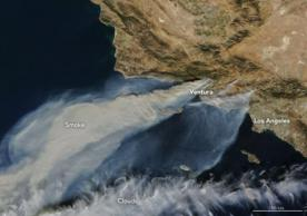 MODIS image of the Thomas fire on 5 December 2017